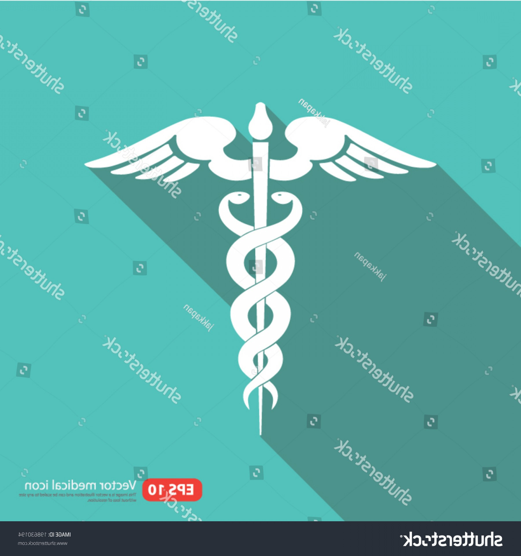 Medical Scepter Vector: Medical Vector Icon Caduceus Sign Shadow