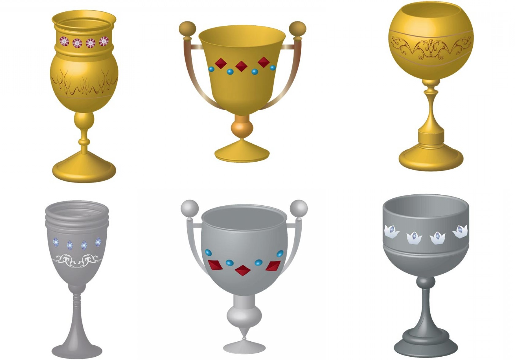 Beer Chalice Vector Logo: Medieval Golden And Silver Goblet