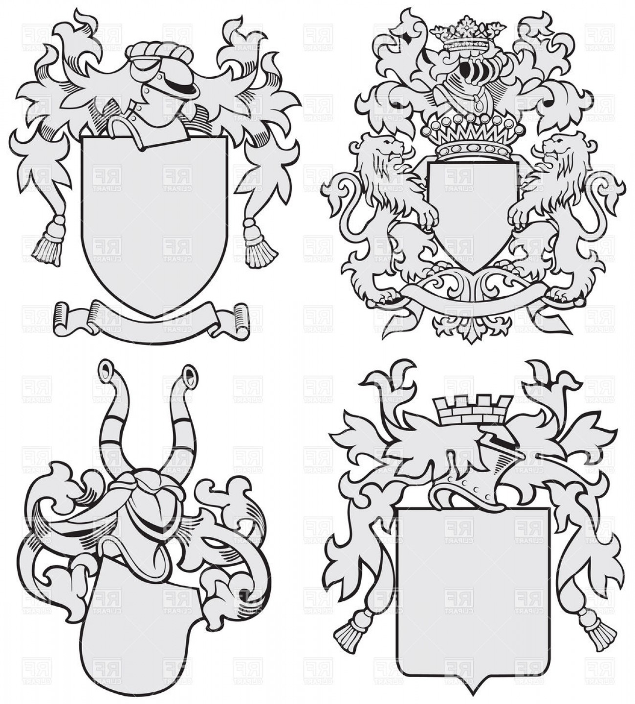 Medieval Frames Vector: Medieval Heraldic Templates With Helmet And Shield Vector Clipart