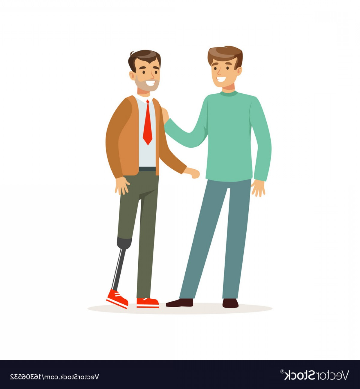 Two People Talking Vector Art: Meeting Of Friends Two Men Talking One Man With Vector