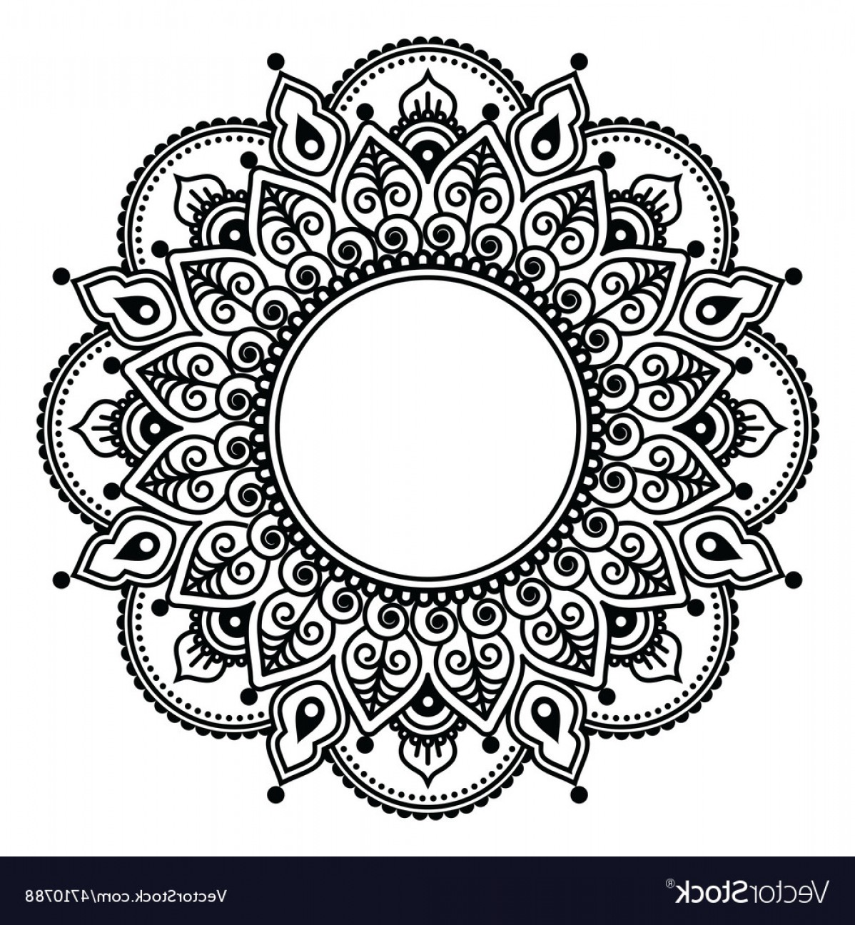 Vector Art Henna: Mehndi Lace Indian Henna Tattoo Round Design Vector