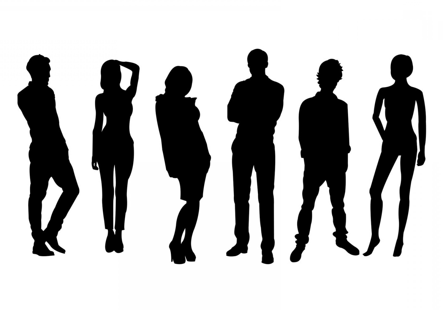 Male Silhouette Vector Art: Men And Women Silhouette Vector Set