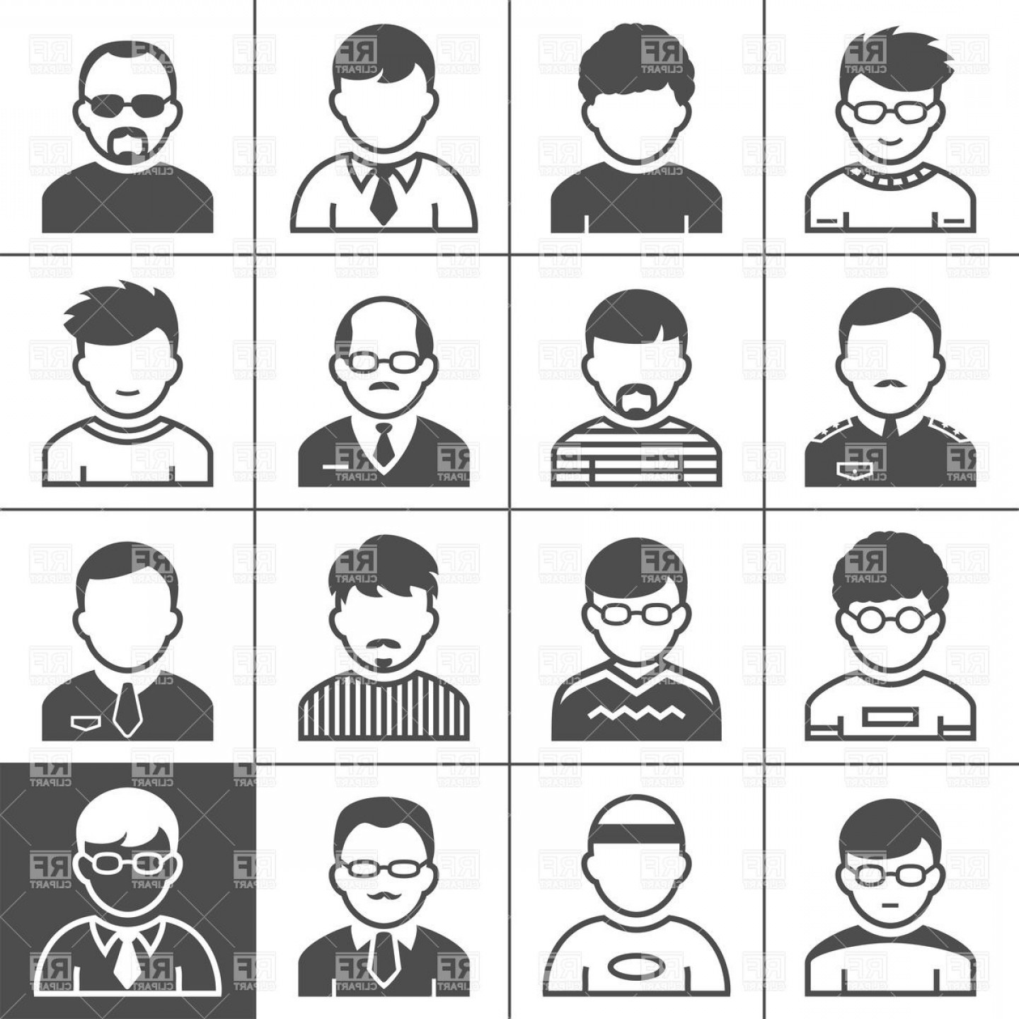 User Icon Vector Free: Men Avatars And User Icons Occupations Of People Vector Clipart