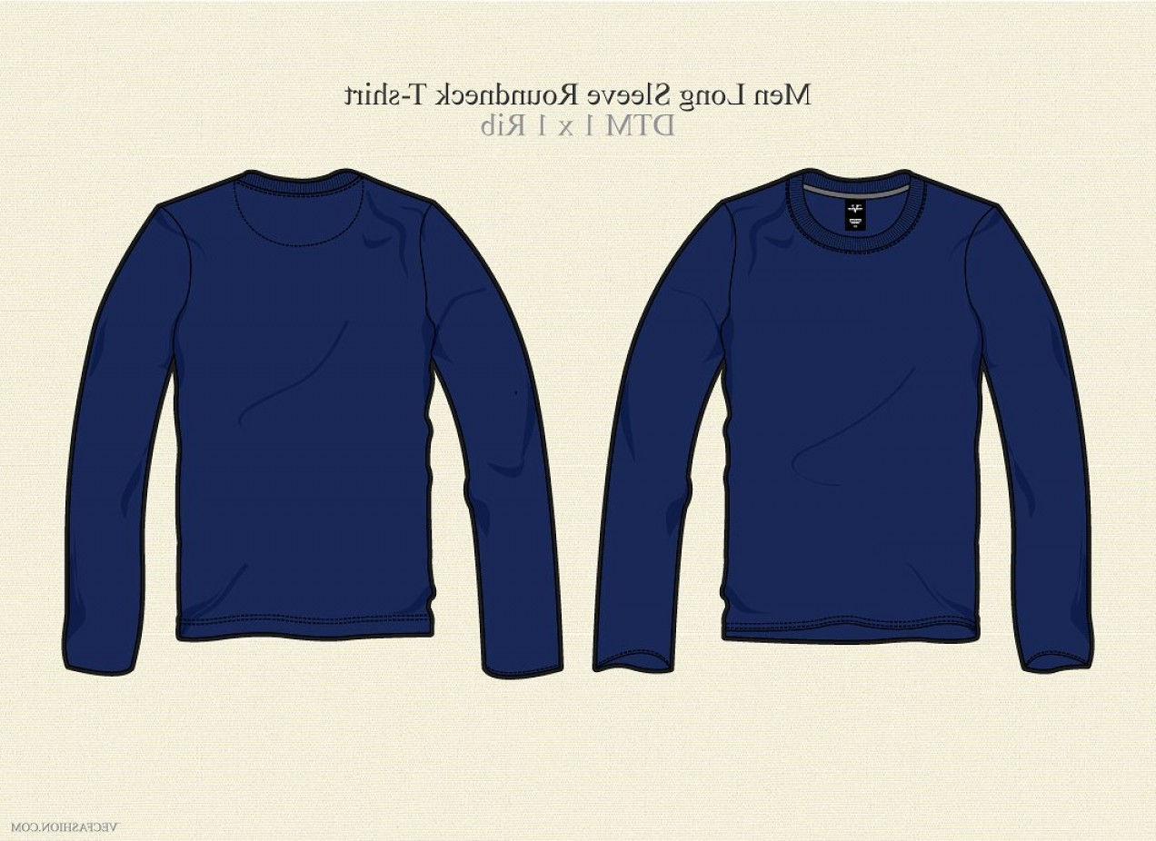 Long Sleeve Jersey Vector Template: Men Long Sleeve Round Neck T Shirt