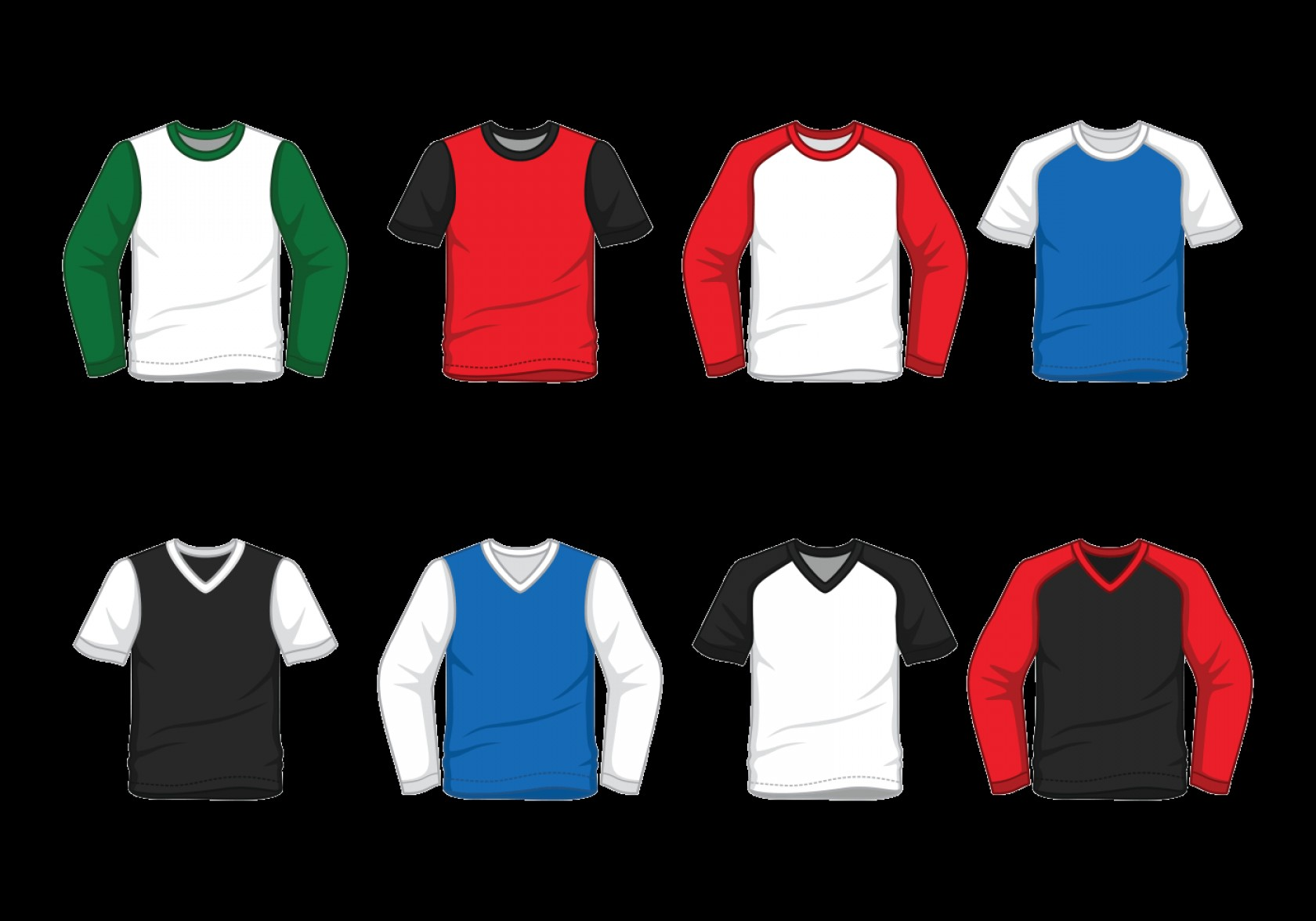 Long Sleeve Jersey Vector Template: Men S Raglan T Shirt Vector
