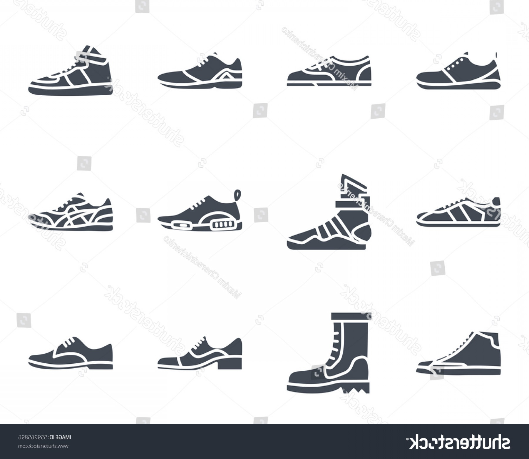 Sneaker Silhouette Vector: Men Shoes Sneakers Silhouette Icon