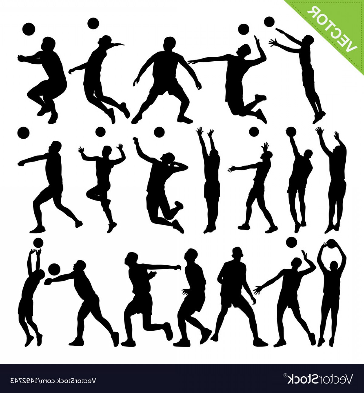 Volleyball Player Vector: Men Volleyball Player Silhouettes Vector