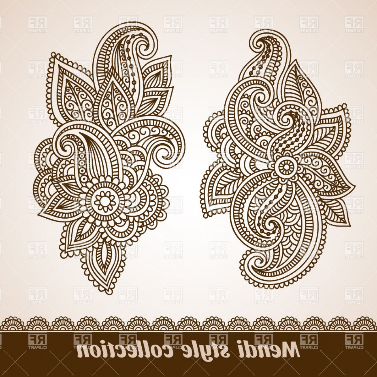 India Clip Art Vector Designs: Mendi Style Indian Ethnic Elements Vector Clipart