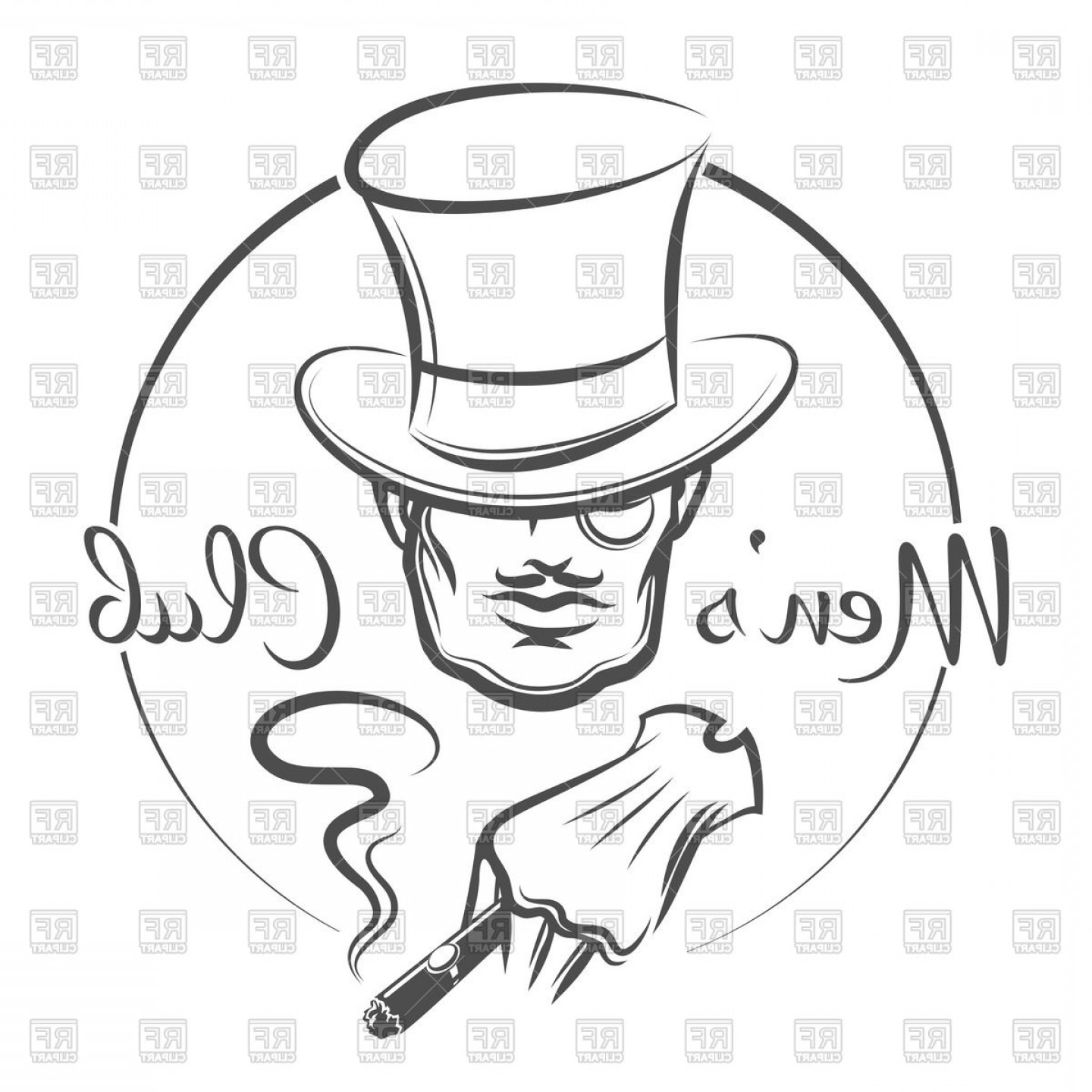 Cigar Cartoon Vector: Mens Club Emblem Man In Top Hat Smokes A Cigar Vector Clipart