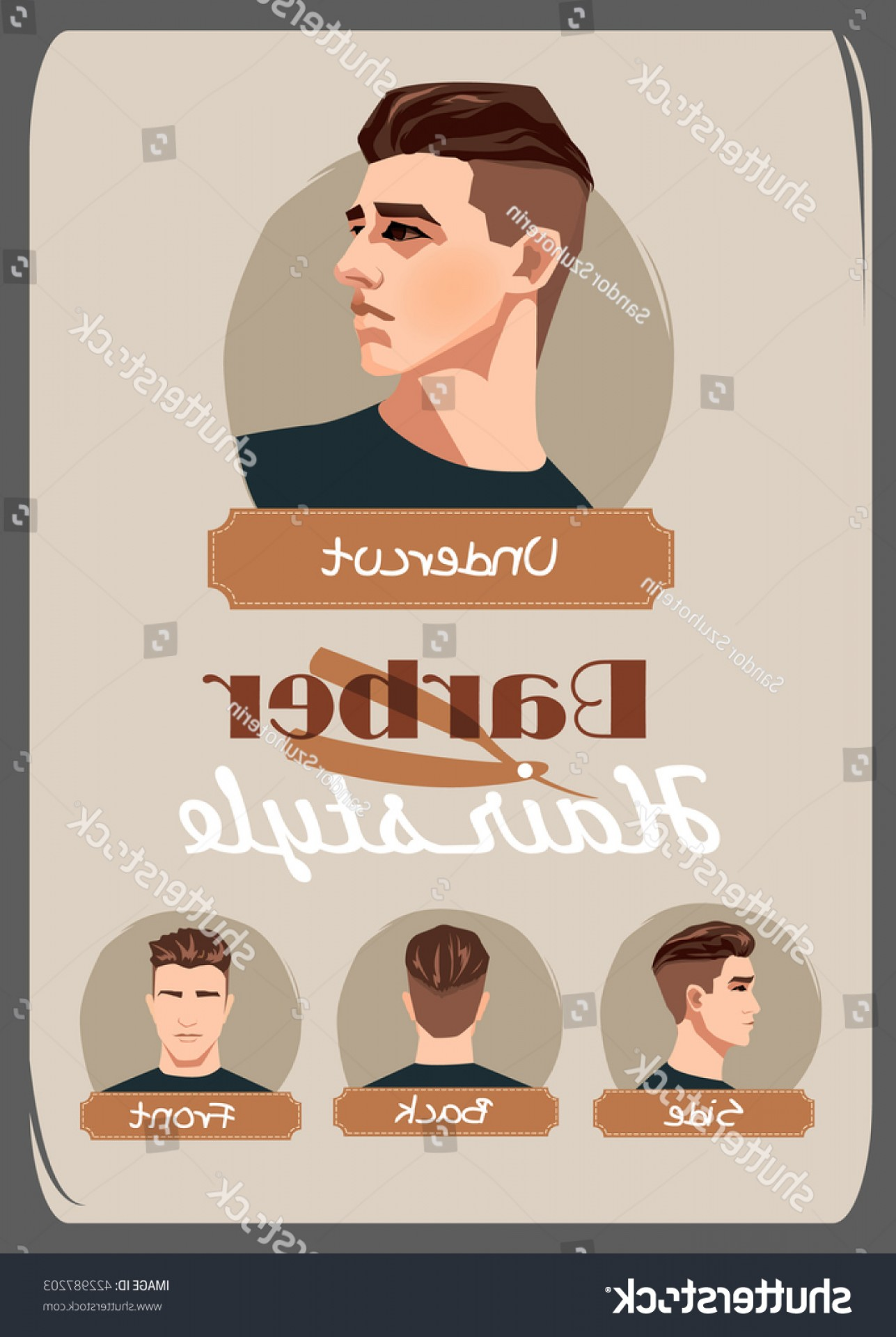 Short Men's Hair Vector: Mens Haircut Hairstyle Undercut Front Side