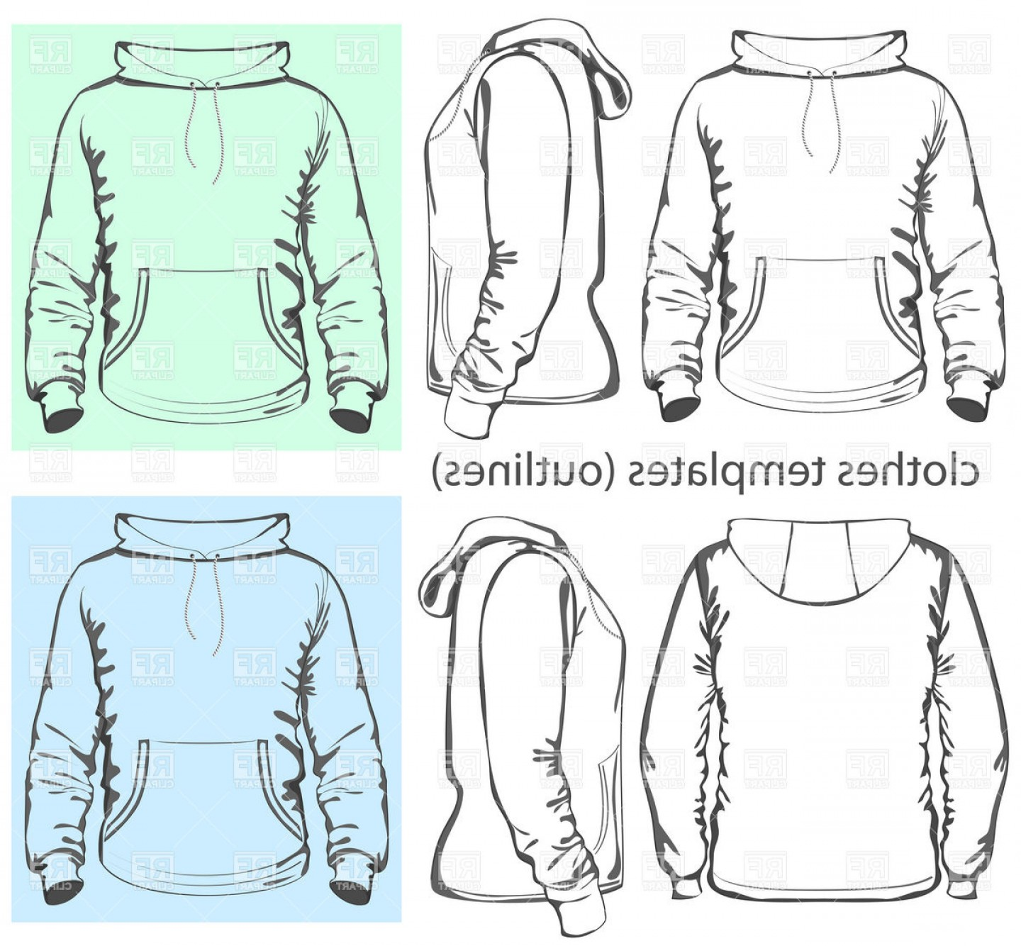 Sweatshirt Vector Template: Mens Hooded Sweatshirt Template With Pocket On Belly Vector Clipart