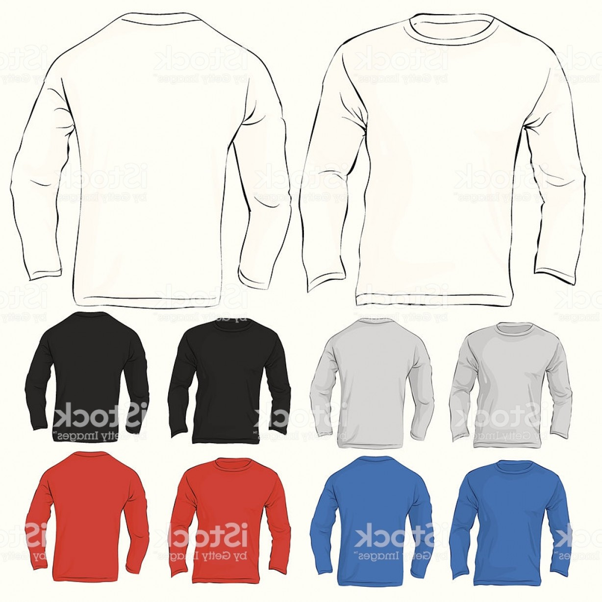 Long Sleeve Jersey Vector Template: Mens Long Sleeved T Shirt Template In Many Color Gm