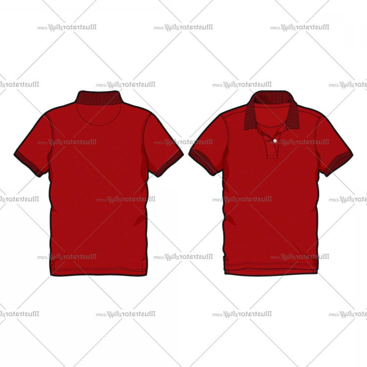 Men's T-Shirt Vector Template: Mens Men Red Polo Shirt Vector Fashion Flat Template