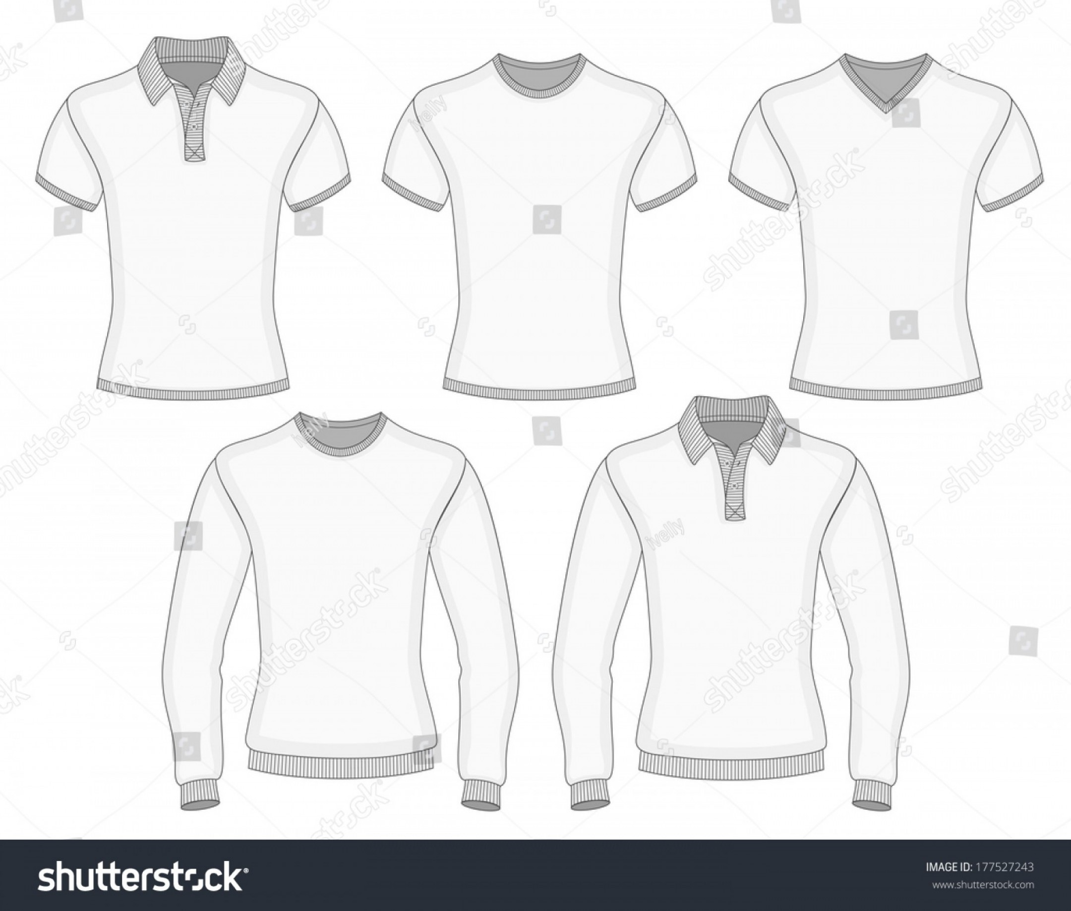 Long Sleeve Jersey Vector Template: Mens Short Long Sleeve Polo Shirt