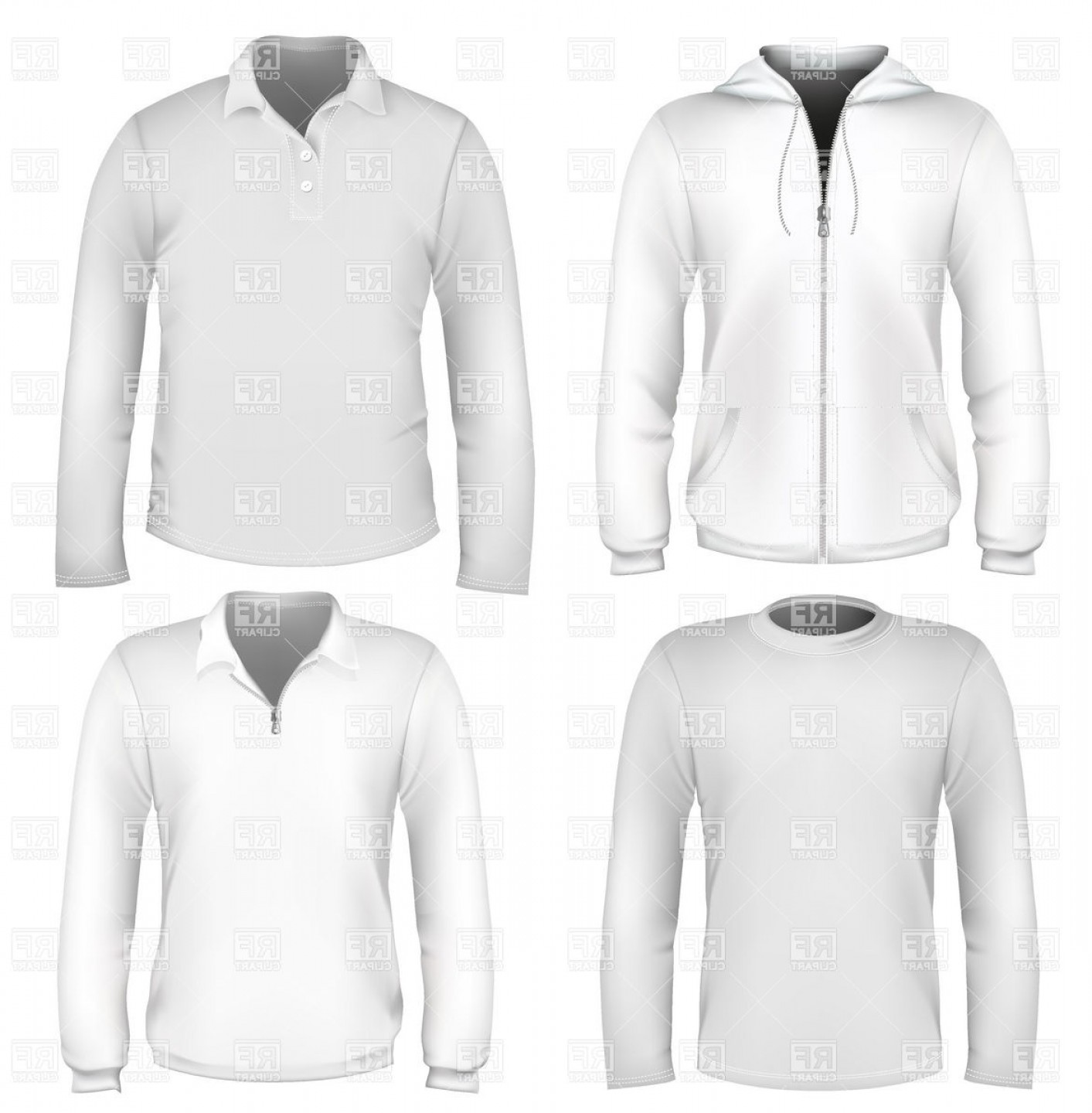 Sweatshirt Vector Template: Mens Sportswear Design Templates Hoodie Sweater And Polo Shirt Vector Clipart