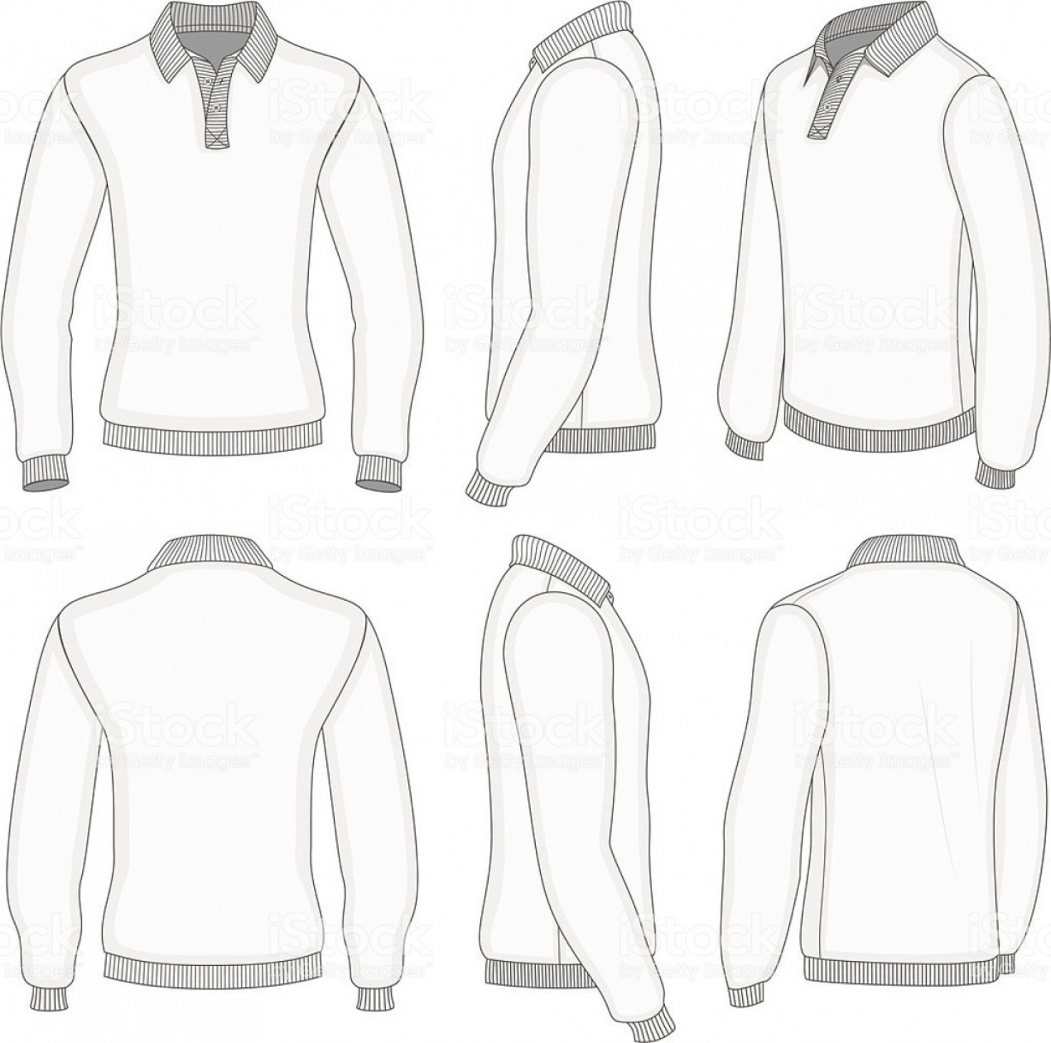 Long Sleeve Jersey Vector Template: Mens White Long Sleeve Polo Shirt Gm