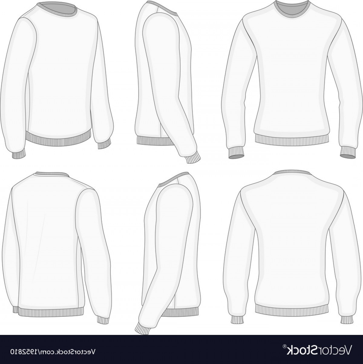 Long Sleeve Jersey Vector Template: Mens White Long Sleeve T Shirt Vector
