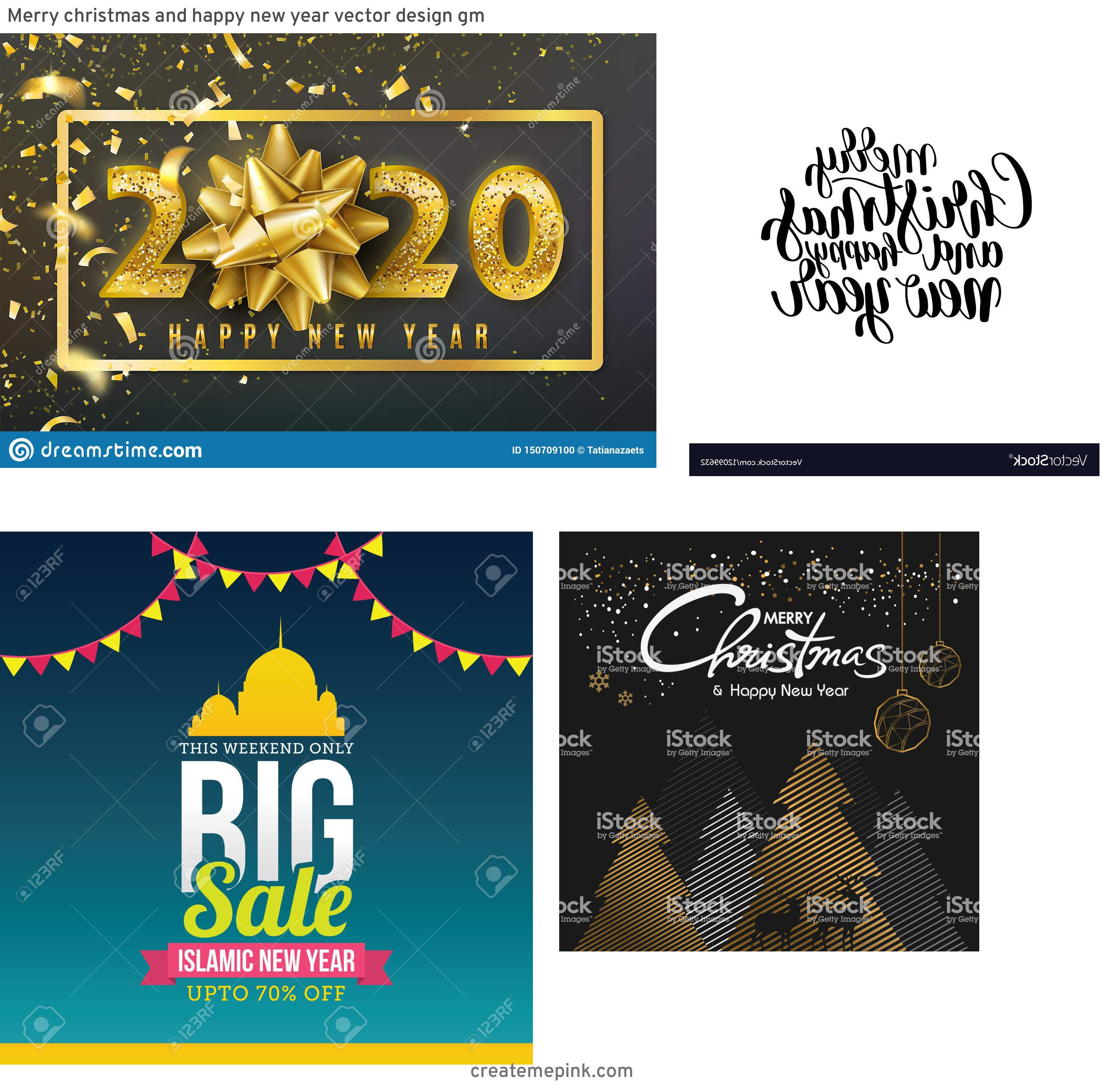 Free New Year Vector: Merry Christmas And Happy New Year Vector Design Gm