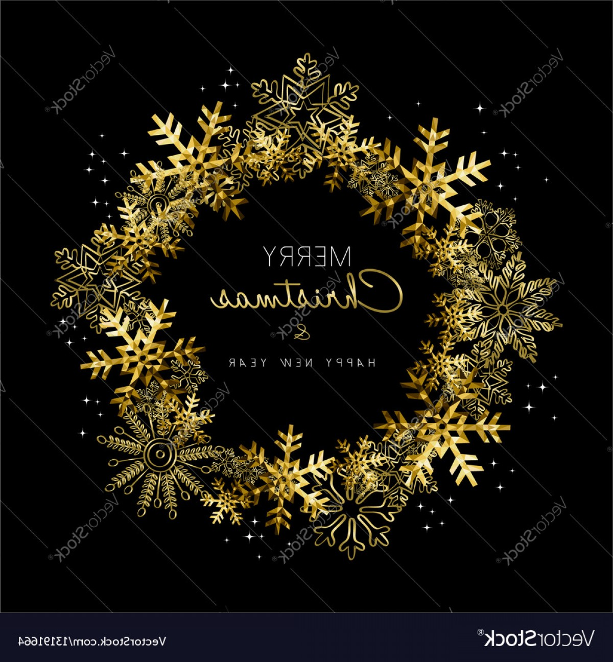 Vector Snowflake Wreath: Merry Christmas And New Year Gold Snowflake Wreath Vector