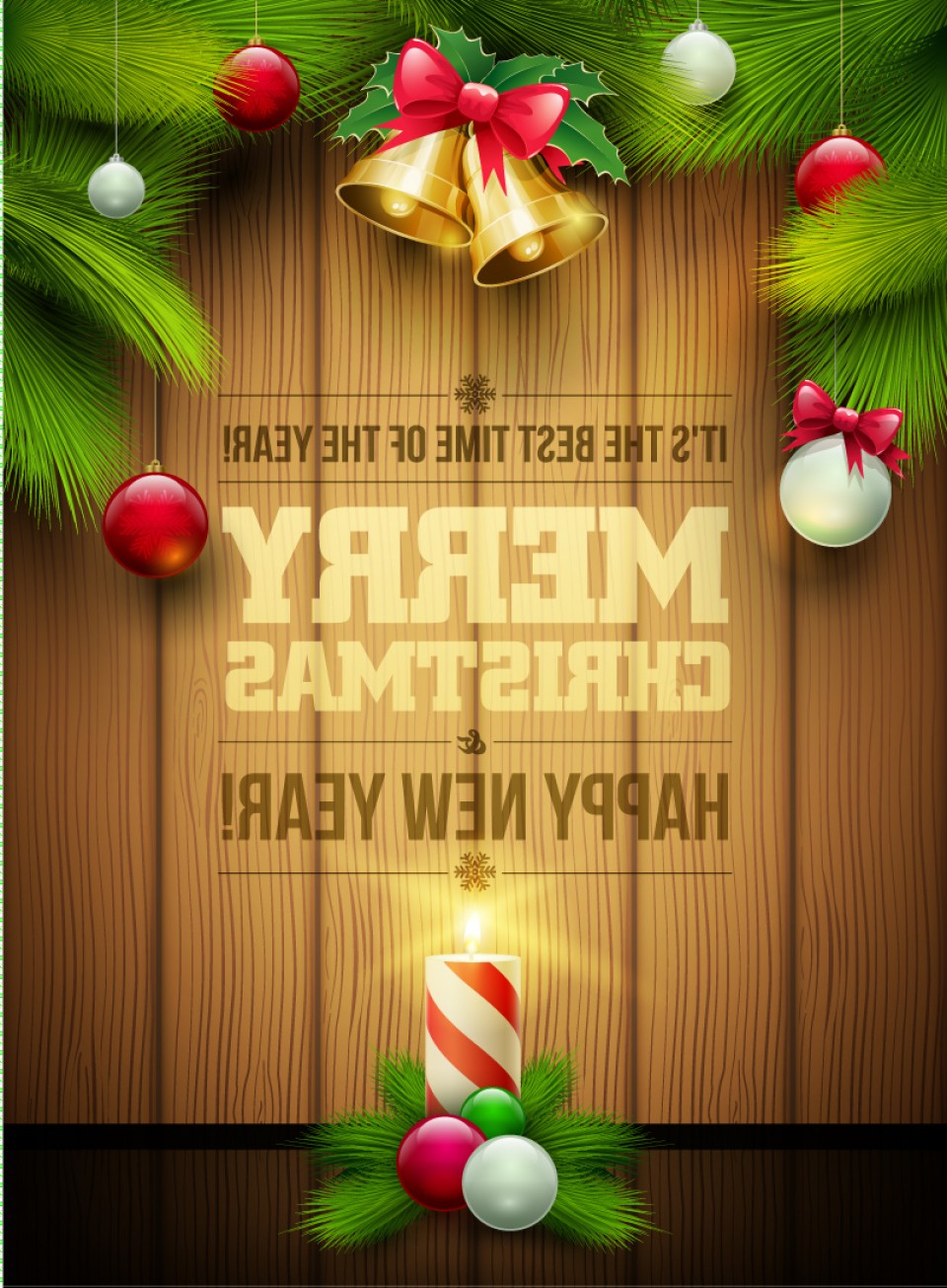 Merry Christmas Vector Graphic: Merry Christmas Bell Pine Wooden Vector