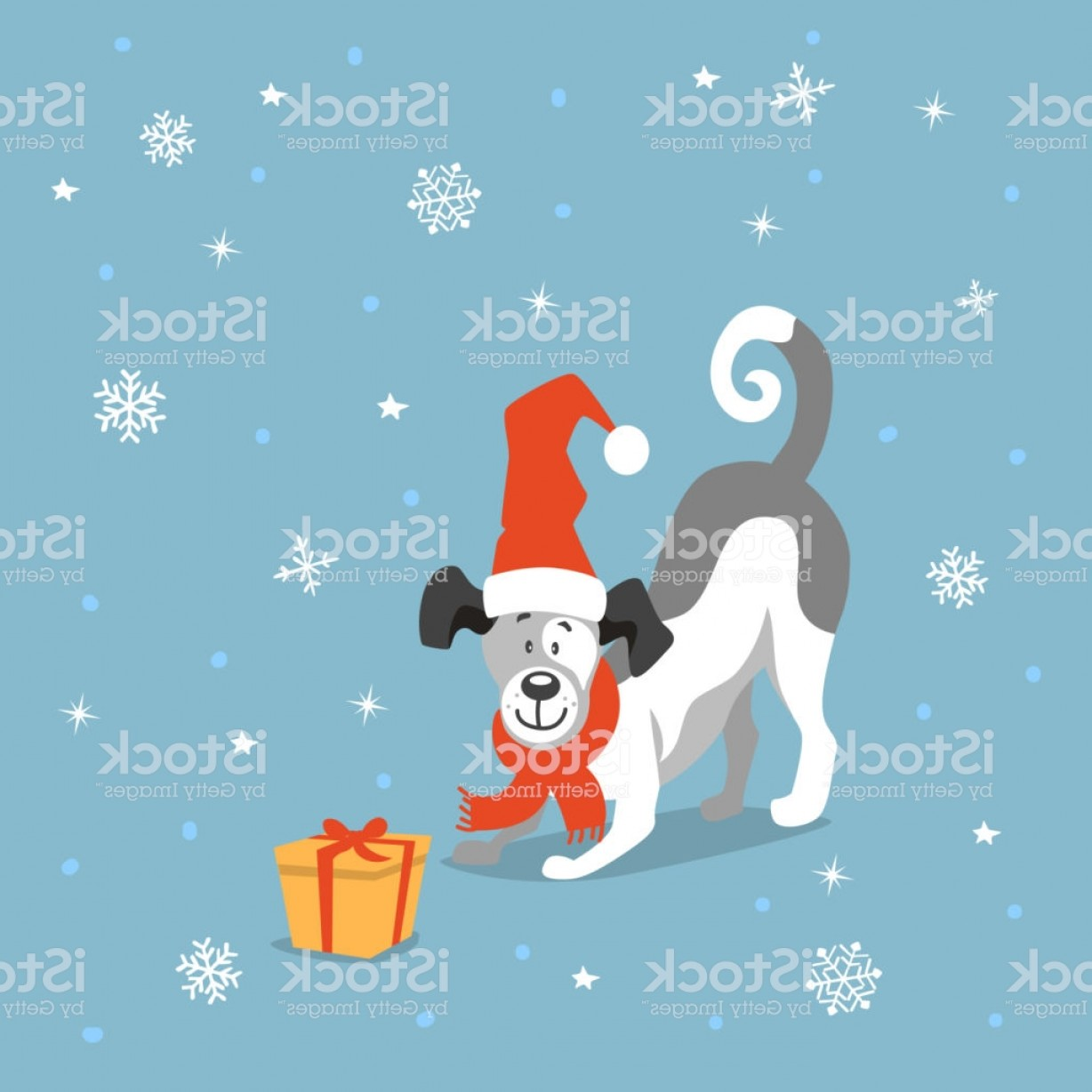 Bpxer Vector Art Happy Dog: Merry Christmas Happy New Year Cute Funny Cartoon Dog Playing With Xmas Gift Box Gm