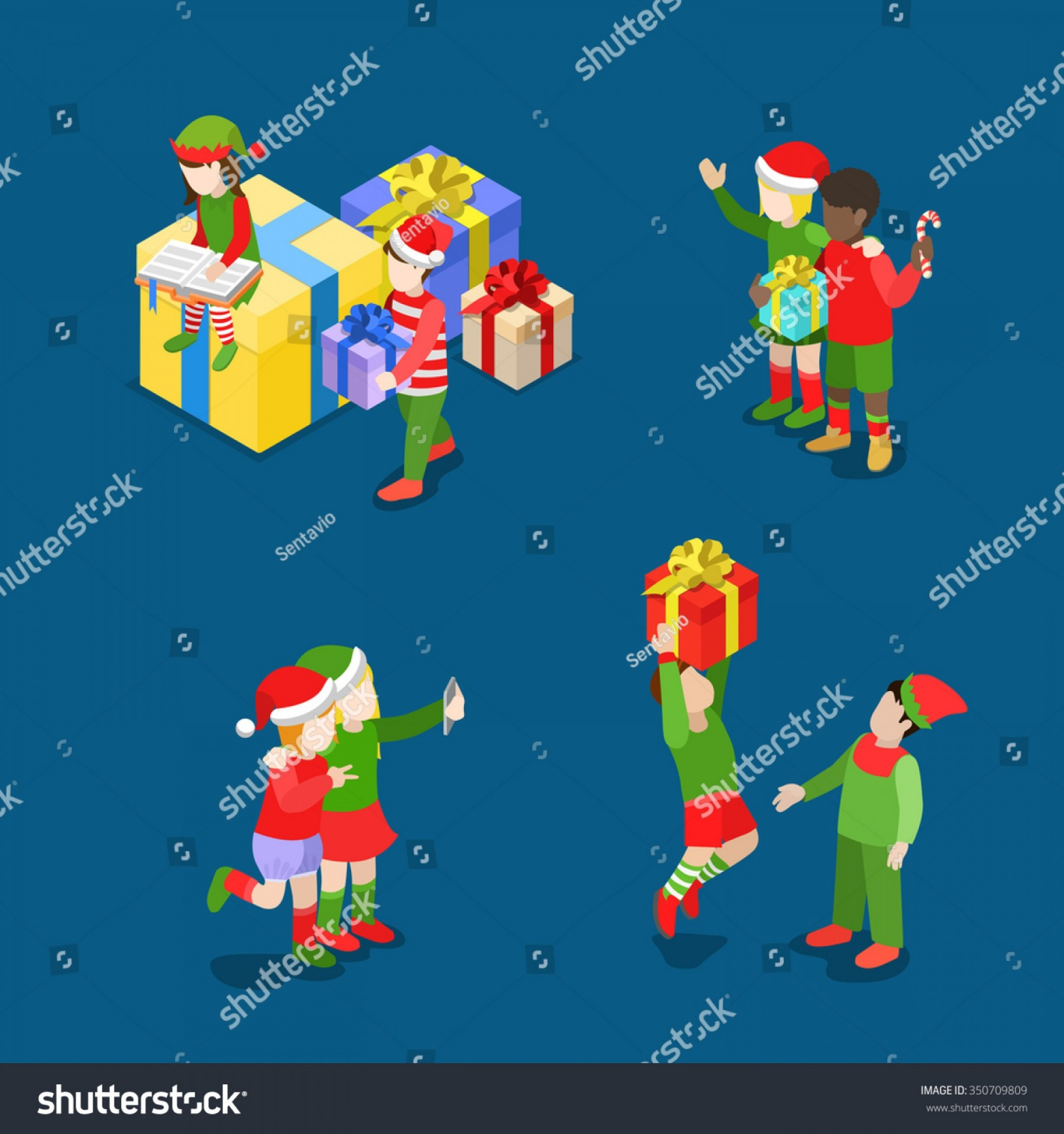 Trolls Poppy And Branch Vector Art: Merry Christmas Happy New Year Flat