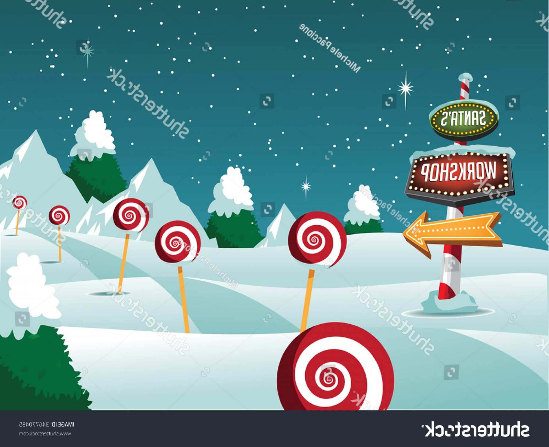 North Pole Landscape Vector: Merry Christmas North Pole Landscape Sign