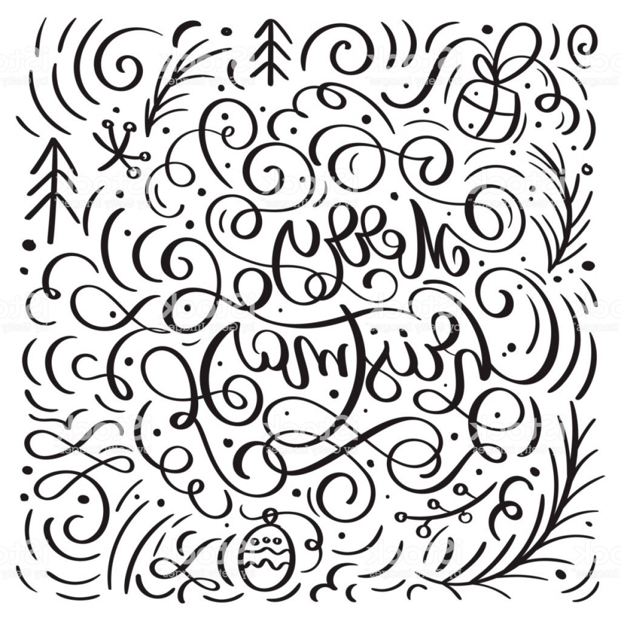 Vector Flourish Christmas: Merry Christmas On A White Background With Flourish Vector Xmas Elements Of Gm