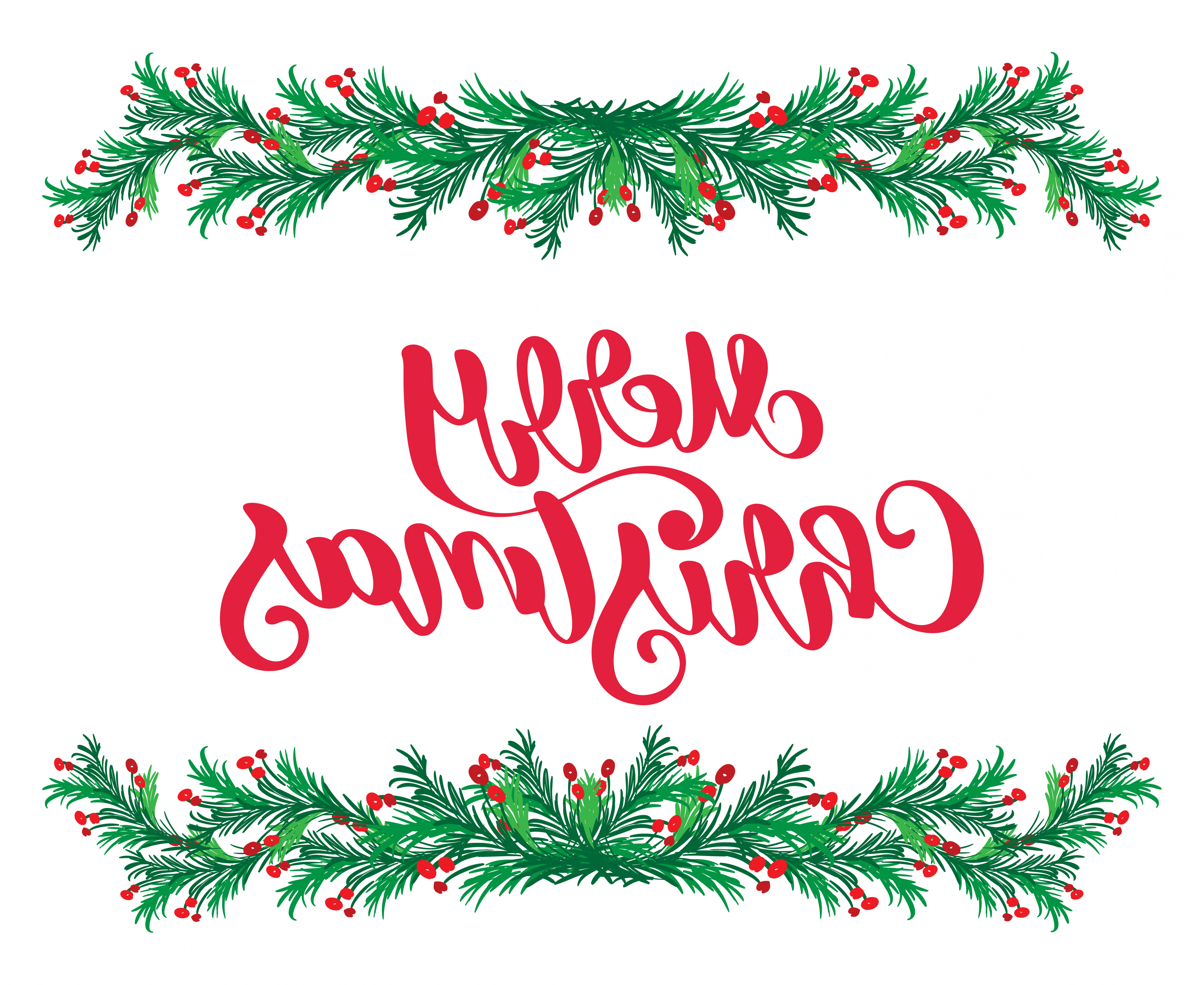 Vector Flourish Christmas: Merry Christmas Red Calligraphy Lettering Text And Vintage Flourish Green Fir Tree Branches Frame Vector Illustration