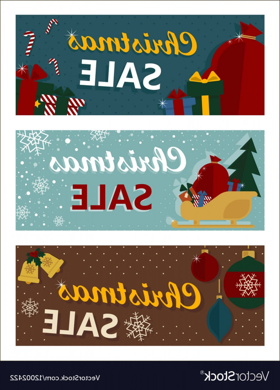 Vintage Xmas Sale Tag Vector: Merry Christmas Sale Tags In Retro Style Vector