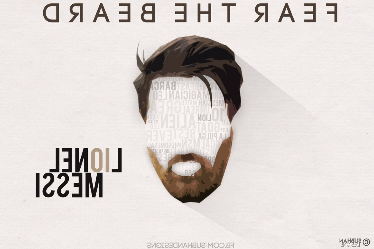 Fear The Beard Vector: Messi Beard Illustration Art