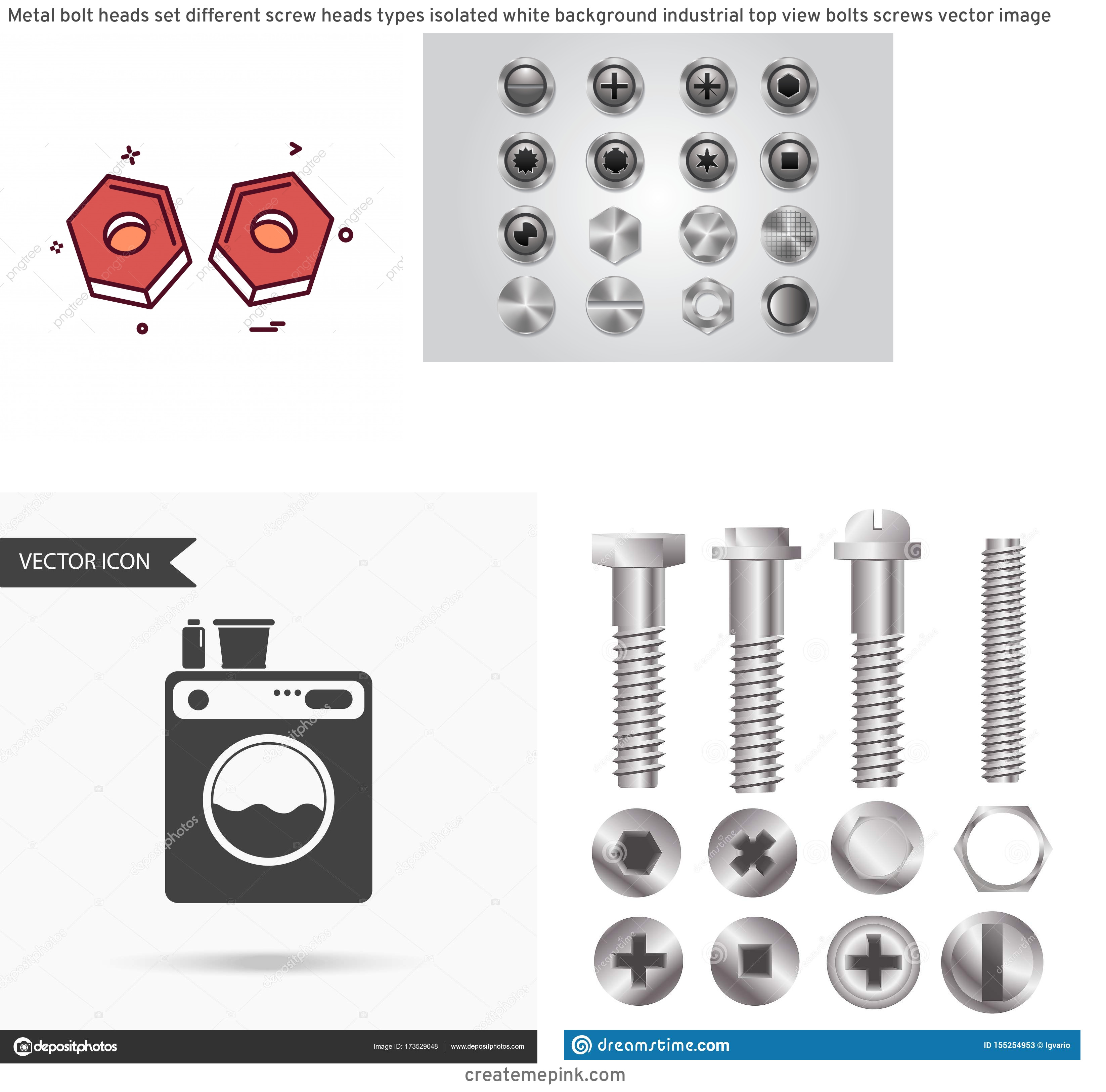 White Washer Bolt Vector: Metal Bolt Heads Set Different Screw Heads Types Isolated White Background Industrial Top View Bolts Screws Vector Image