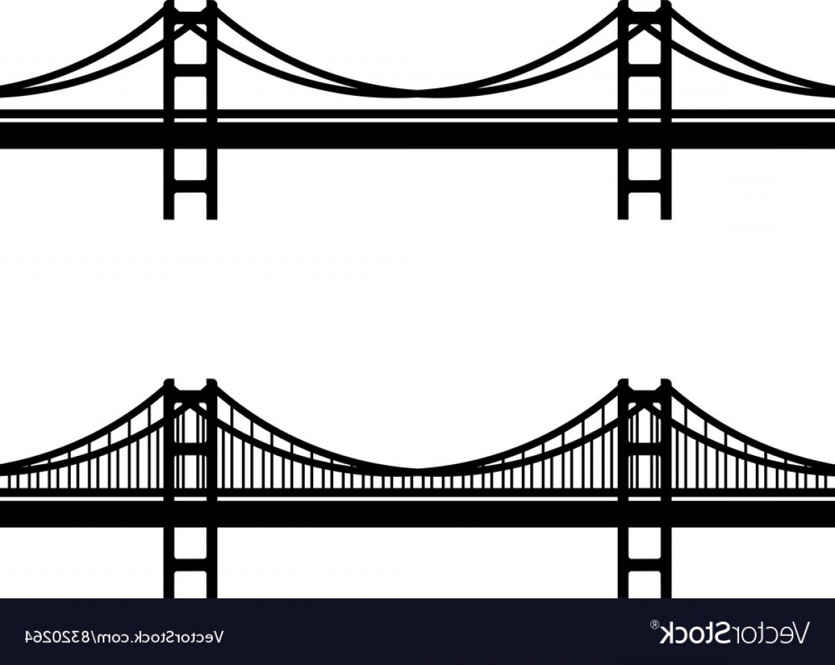 Suspension Bridge Vector: Metal Cable Suspension Bridge Black Symbol Vector