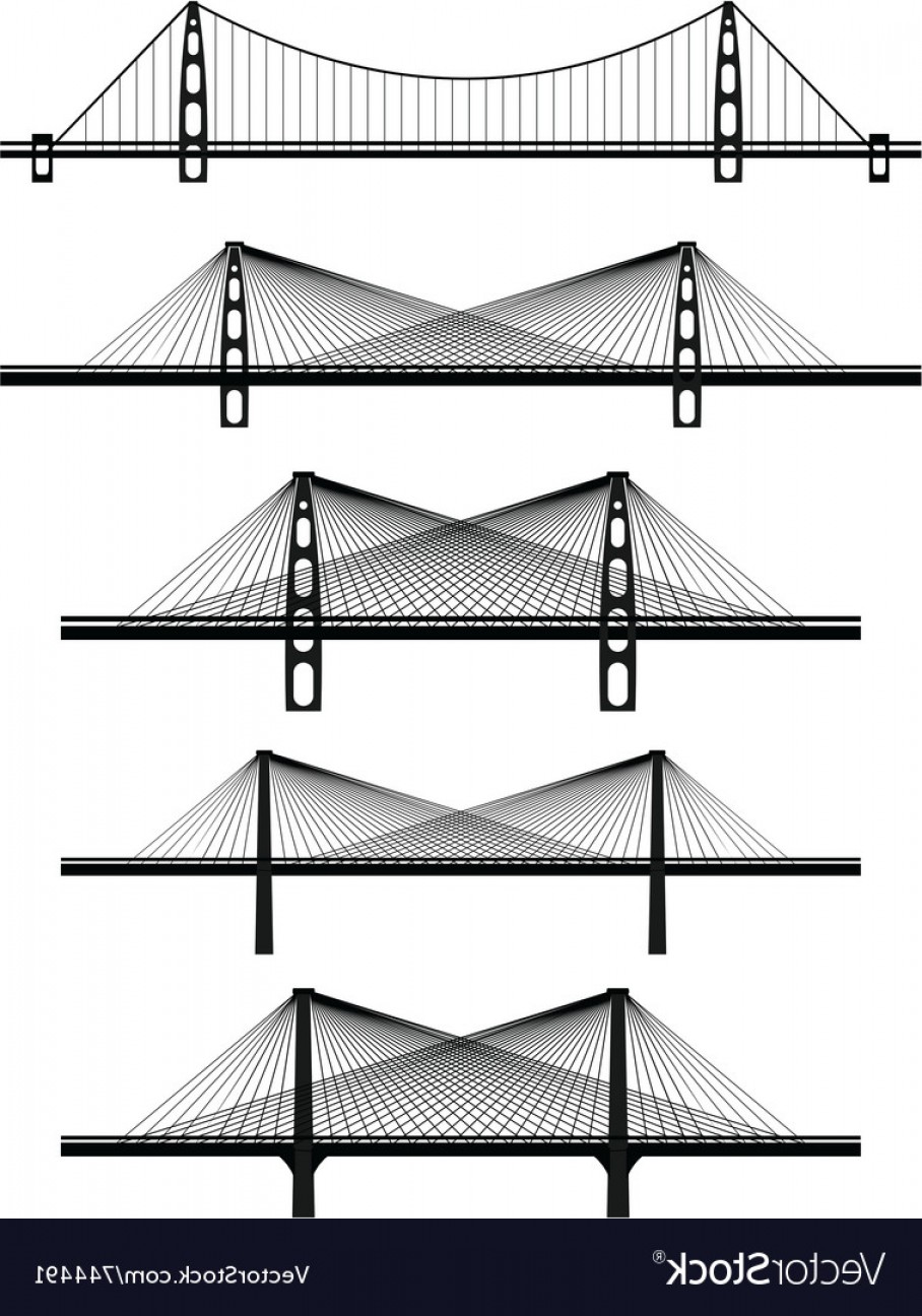 Suspension Bridge Vector: Metal Cable Suspension Bridges Vector