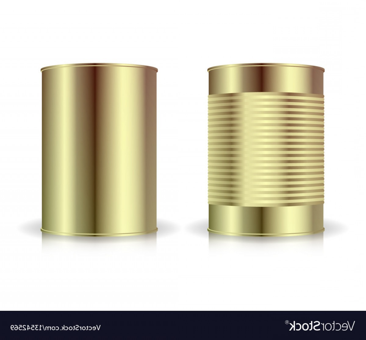 Can Vector: Metallic Cans Set Gold Tin Can Blank For Vector