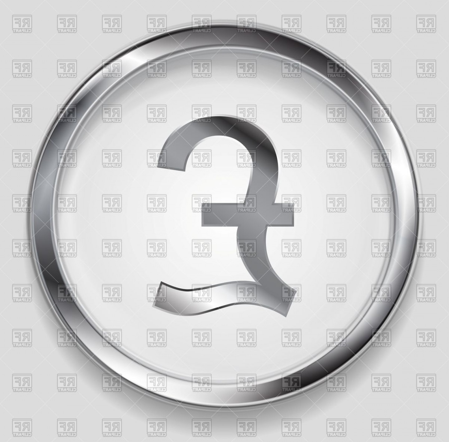 Metal Button Vector: Metallic Pound Symbol Logo In Round Button Vector Clipart