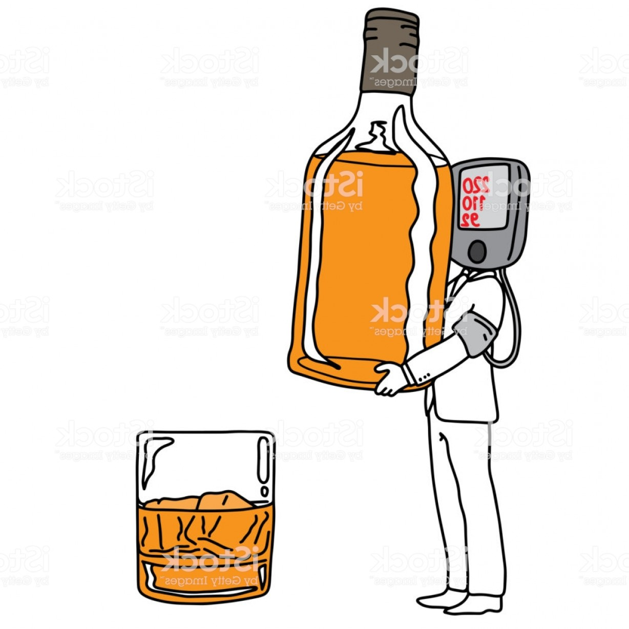 Alcohol Vector: Metaphor Cause Of High Blood Pressure Or Hypertension Is Drinking Alcohol Vector Gm