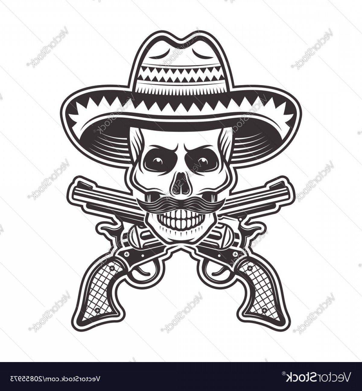 Sombrero Hat Vector: Mexican Bandit Skull In Sombrero Hat Vector