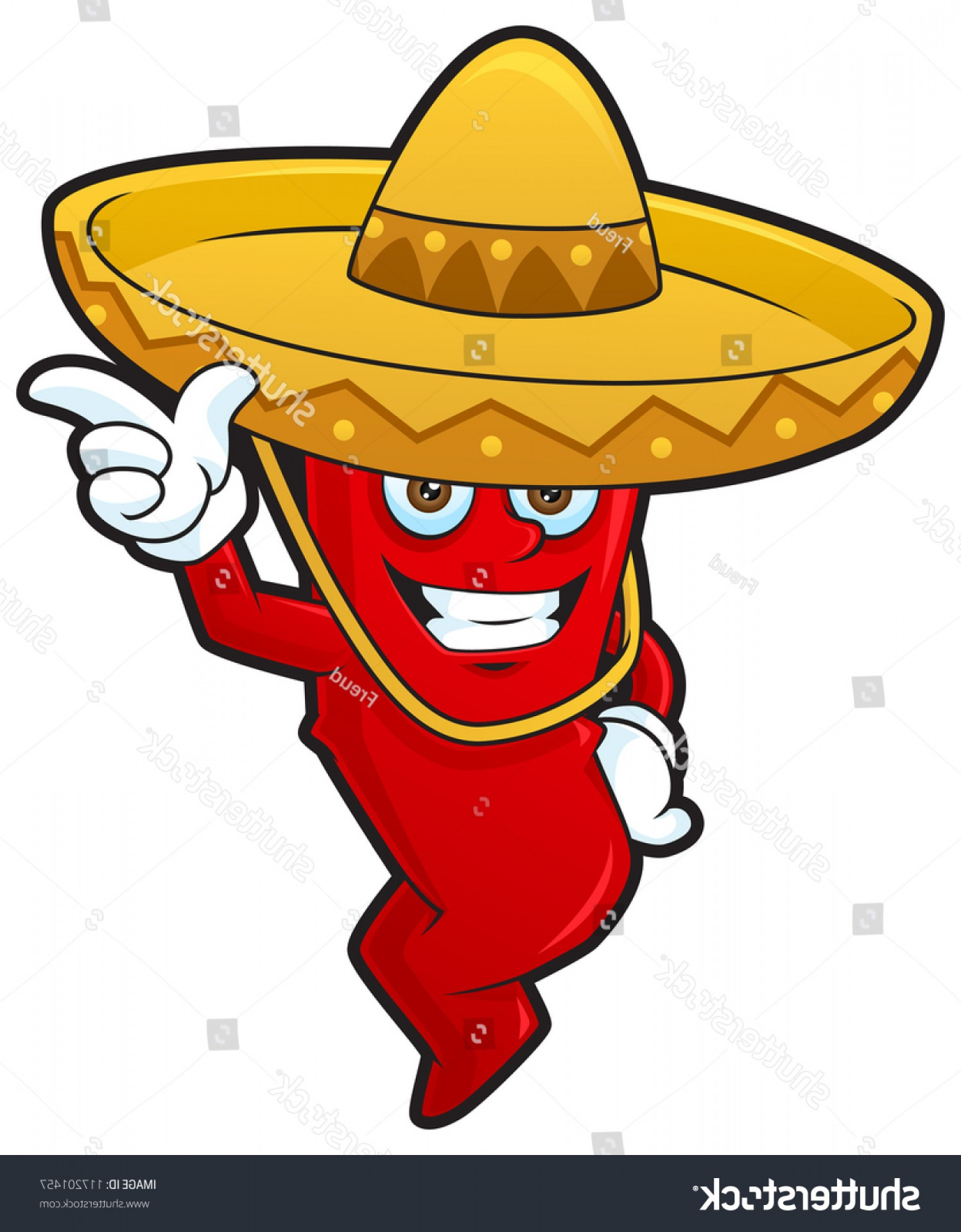 Vector Mexican Chili: Mexican Chili Cartoon Wearing Sombrero Hat