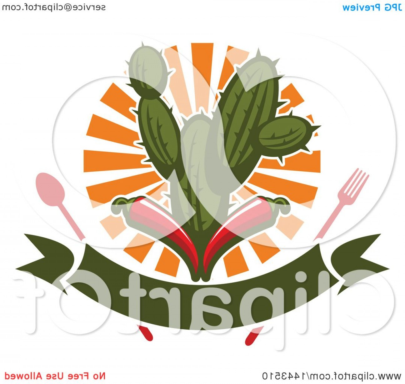 Vector Mexican Chili: Mexican Food Cactus Fork Spoon Sun Banner And Red Chili Peppers Design