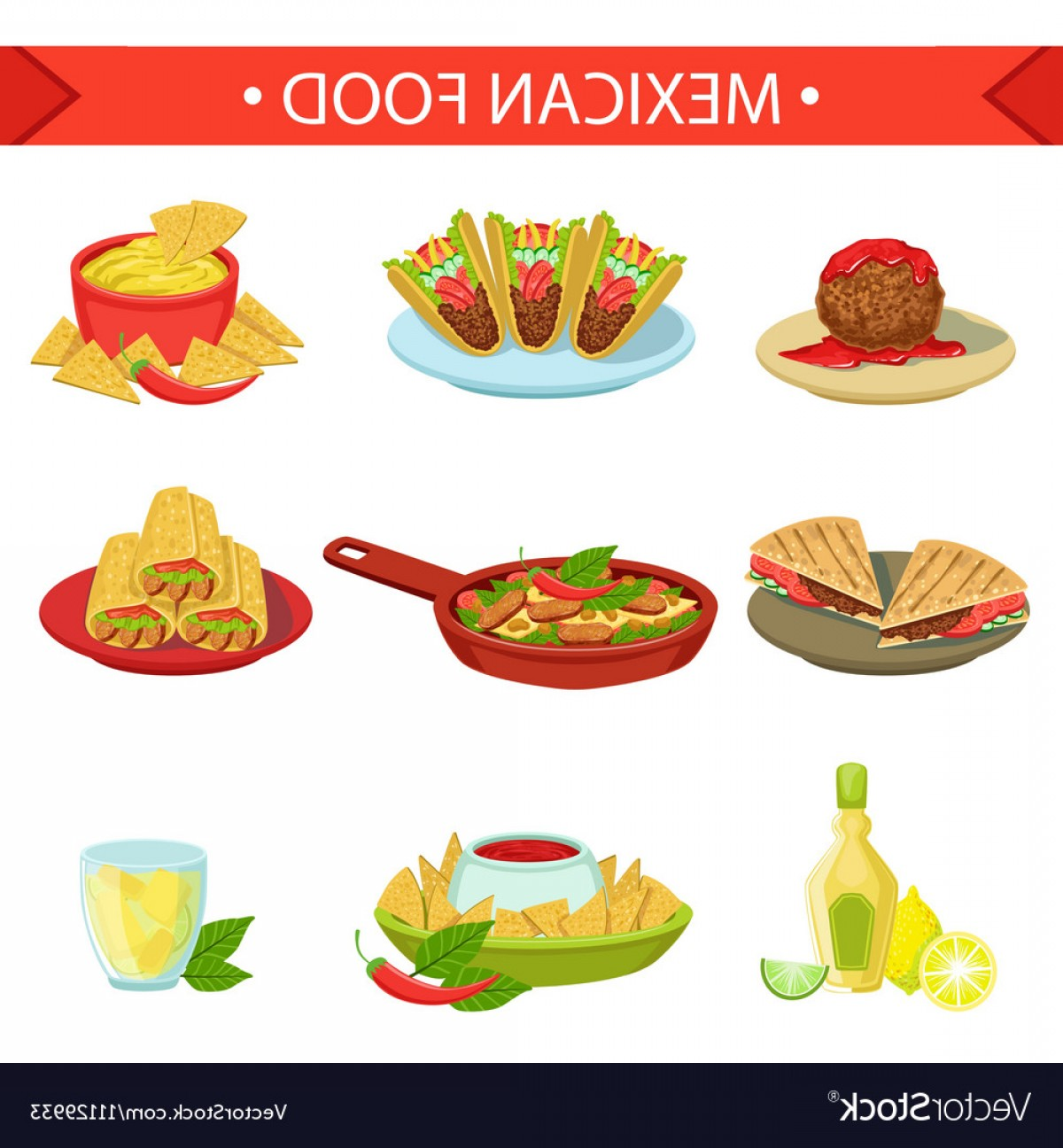 Vector Mexican Tacos: Mexican Food Famous Dishes Set Vector