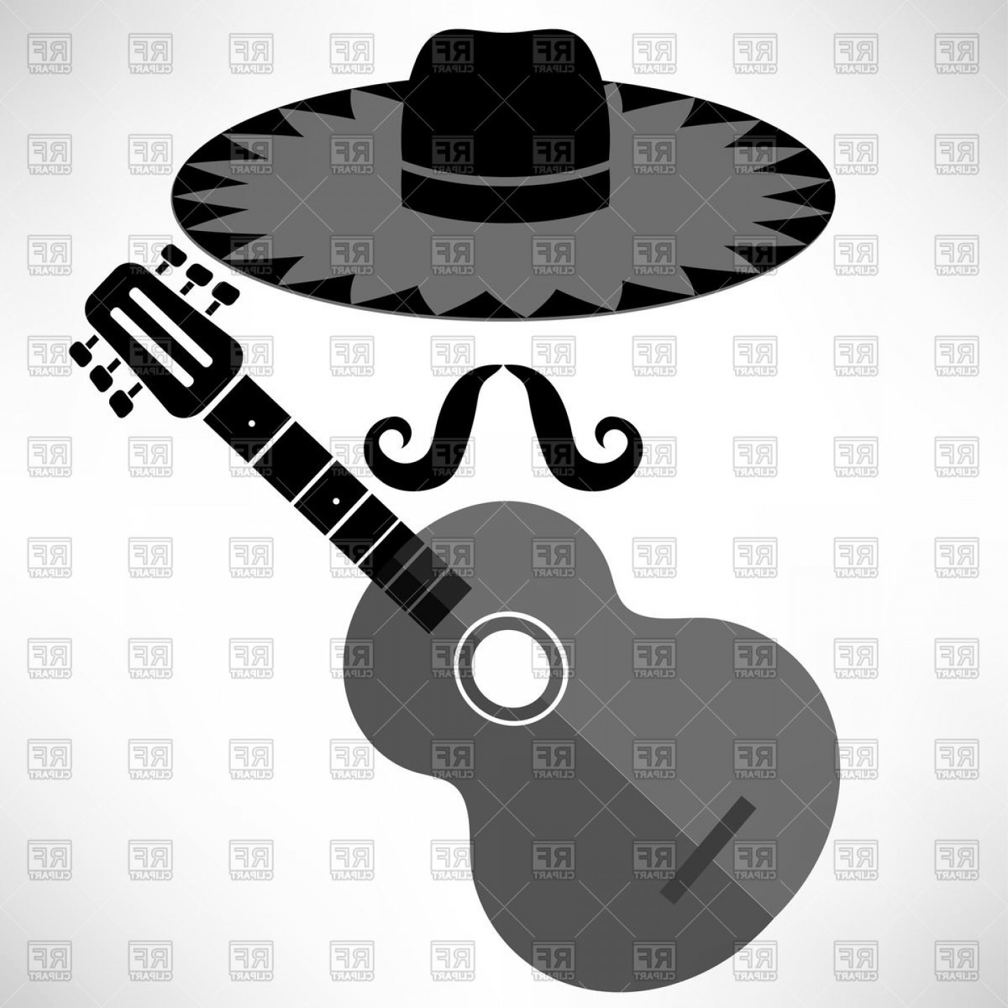 Sombrero Hat Vector: Mexican Guitar And Hat Vector Clipart