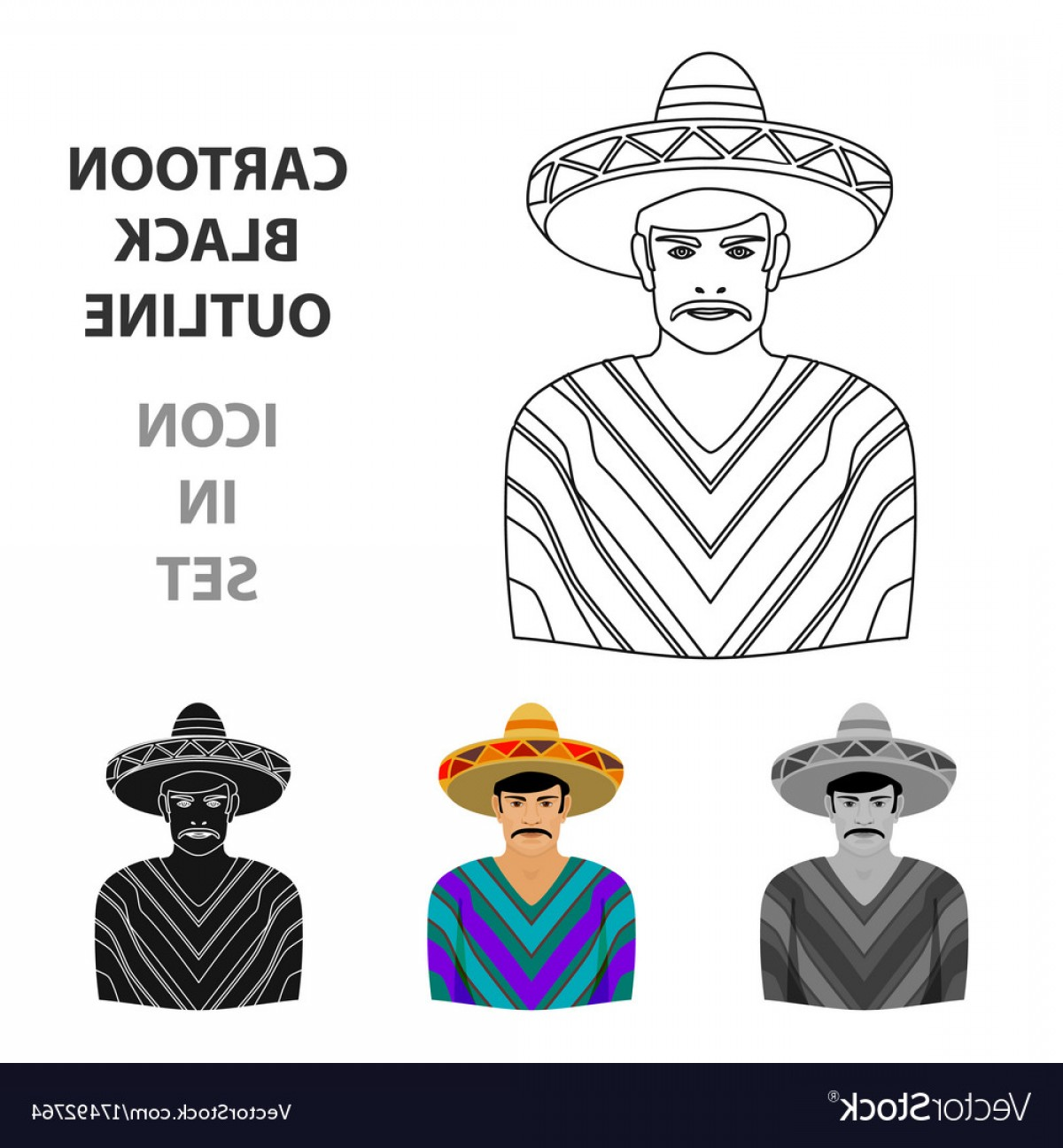 Sombrero Vector Outline: Mexican Man In Sombrero And Poncho Icon In Cartoon Vector