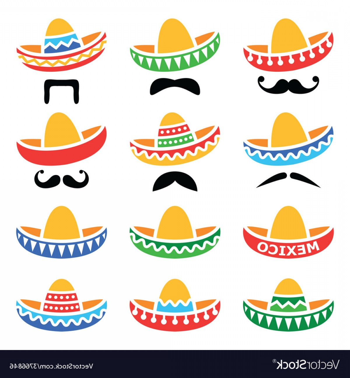 Sombrero Hat Vector: Mexican Sombrero Hat With Moustache Or Mustache Vector