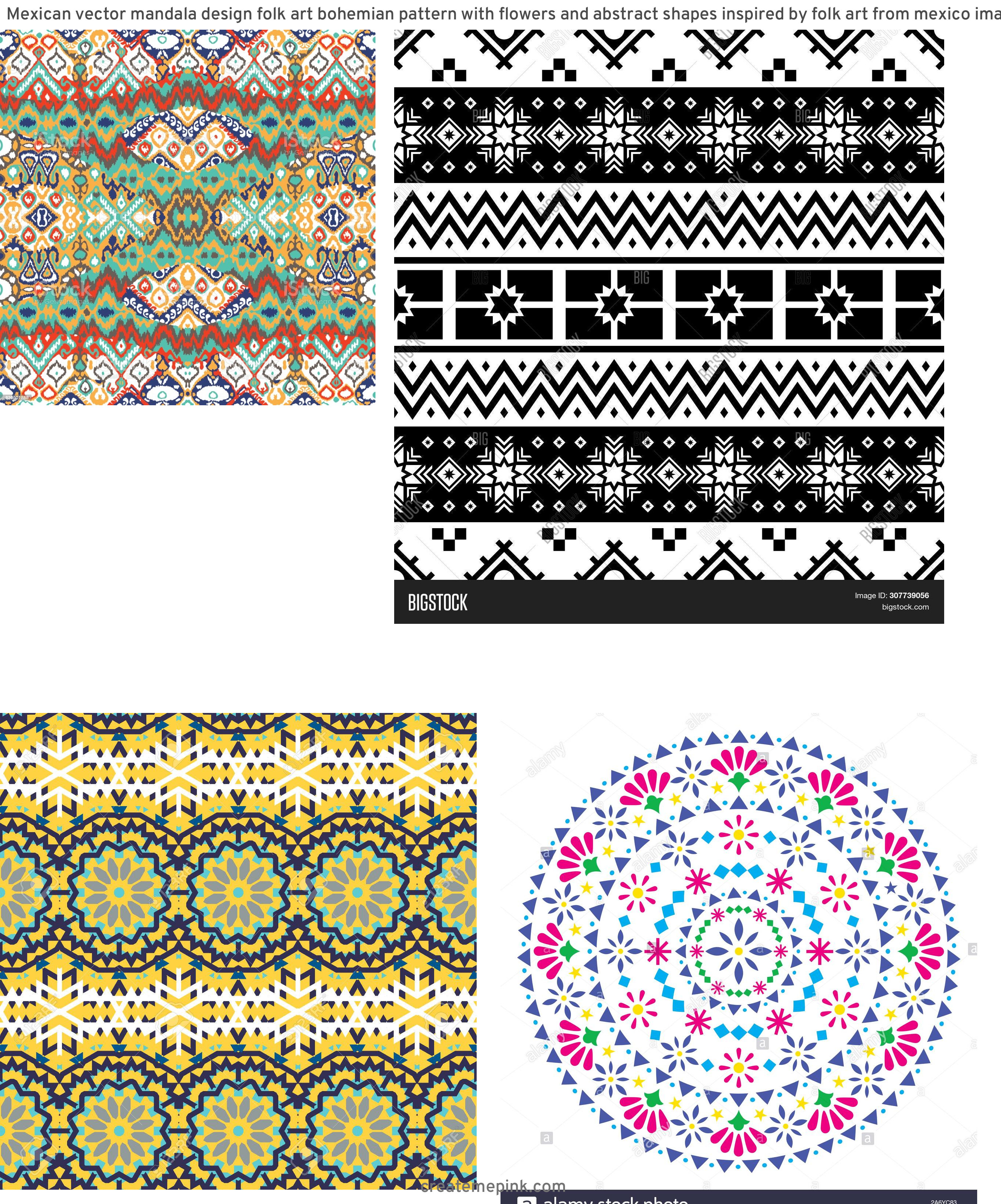 Bohemian Pattern Vector: Mexican Vector Mandala Design Folk Art Bohemian Pattern With Flowers And Abstract Shapes Inspired By Folk Art From Mexico Image