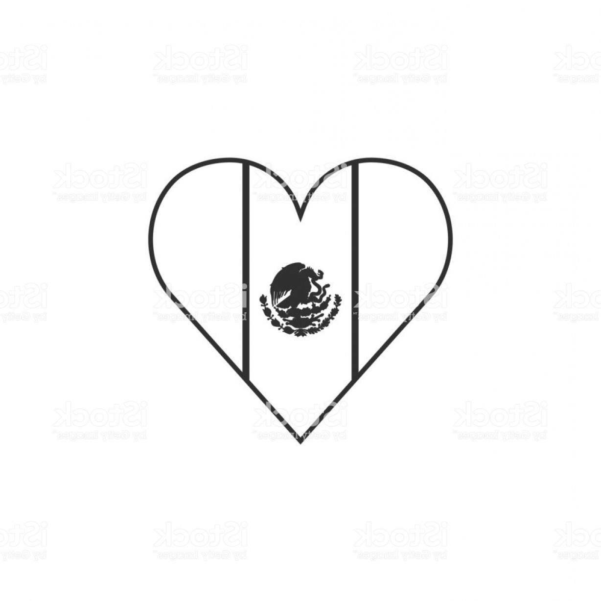 Slanted Heart Vector: Mexico Flag Icon In A Heart Shape In Black Outline Flat Design Gm