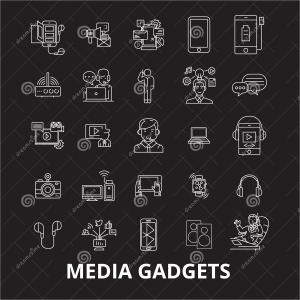 IPad 2 Vector Icons: Media Gadgets Editable Line Icons Vector Set Black Background White Outline Illustrations Signs Symbols Image