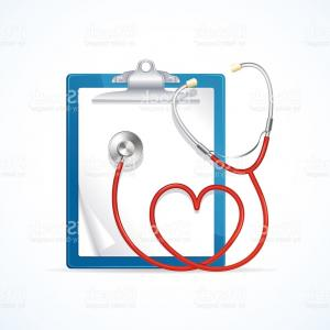 Stethoscope With Heart Vector Art: Medical Concept Stethoscope And Clipboard Vector Gm