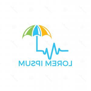 Insurance Vector List: Medical Insurance Vector Logo Concept Pulse Umbrella Logo Design Image
