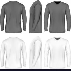 Men's T-Shirt Vector Template: Men Long Sleeve T Shirt Vector